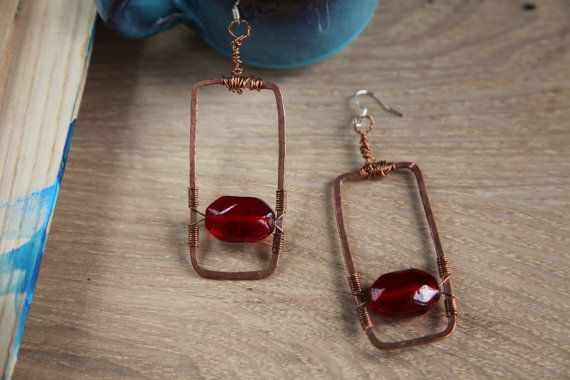 Unique handmade copper glass earrings with silver by alfiyaV