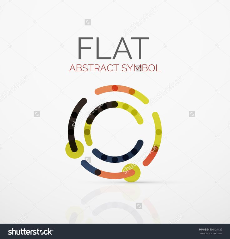 Logo - abstract minimalistic linear flat design. Business hi-tech geometric symbol, multicolored connected segments of lines. Vector illustration - connection concept
