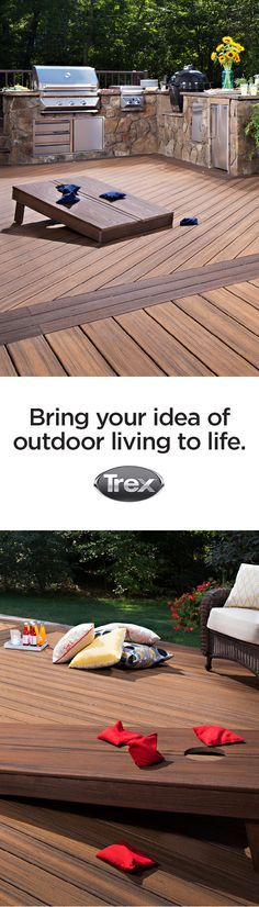 Bring your ideas of outdoor living to life with Trex decking and railing. Decks are a perfect place to play outdoor games with the family. These beanbag toss boards are made out of Trex composite boards as well.