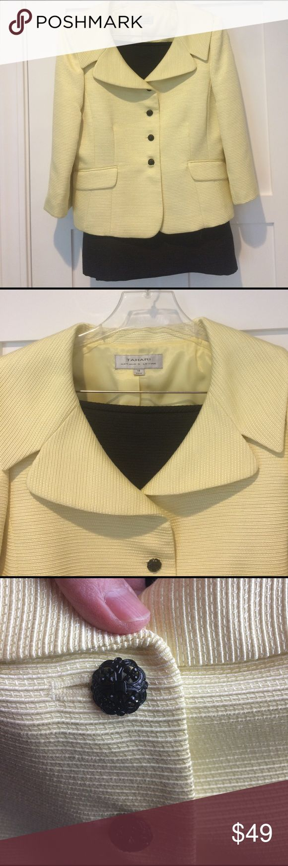 Tahari Yellow Skirt Suit Elegant skirt suit by Tahari.  Light yellow jacket with boat collar and beautiful black buttons.  Matching black skirt.  Fully lined.  3/4 sleeves.  Lovely for a spring or summer occasion...can be worn to lunch or for evening party.  Poly/cotton blend.  From Lord and Taylor suit collection.  Hardly worn.  From clean petfree home. Tahari Skirts Skirt Sets