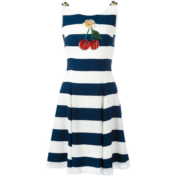 Dolce & Gabbana cherry patch striped dress ($2,515) ❤ liked on Polyvore featuring dresses, blue, white dress, blue fit-and-flare dresses, white sleeveless dress, summer dresses and white sequin dress