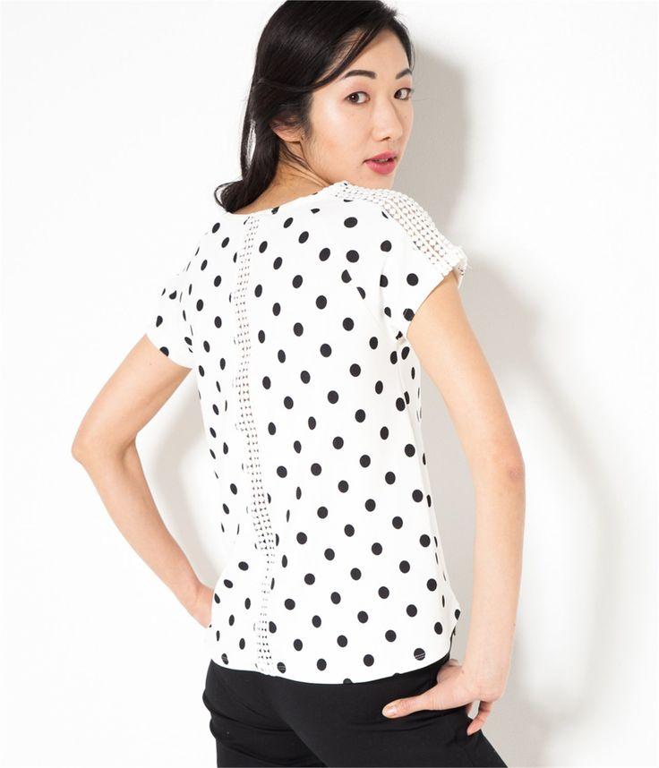 Vente T-shirt femme dentelle et pois Ecru/noir TS - Tee shirt Camaieu. Ce t-shirt femme très féminin a une coupe droite, des empiècements dentelle aux épaules et au dos....