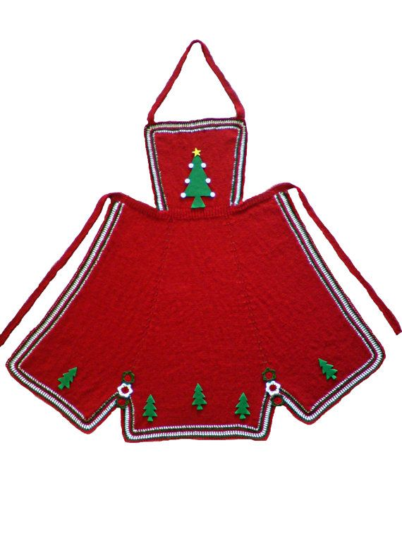 Christmas Gift kitchen apron with crochet in colours by woolopia, $48.00