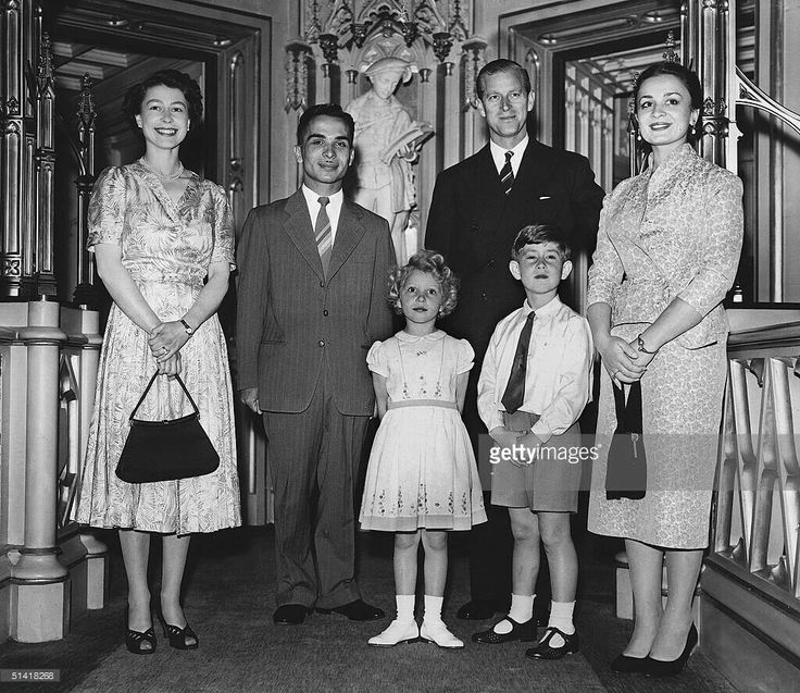 June 19 , 1955 King Hussein of Jordan and his wife Queen Dina on honey moon in GB pose at Windsr Castle