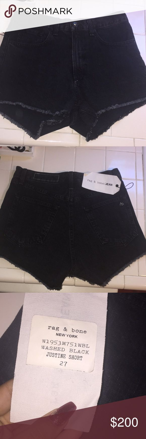 Rag & Bone New York Denim Shorts High-waisted, beautiful, soft denim. Brand new and never worn out. Tried on and just not the right fit. Id recommend a small waisted person with curves and booty. My figure is skinny and straight so just looks baggy on me. Received as a Christmas gift but just dont want them to go to waste! rag & bone Shorts Jean Shorts