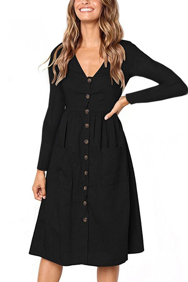 4edf02c2b77 Women Black Long Sleeve V Neck Pocket Button Up Casual A Line Dress - M