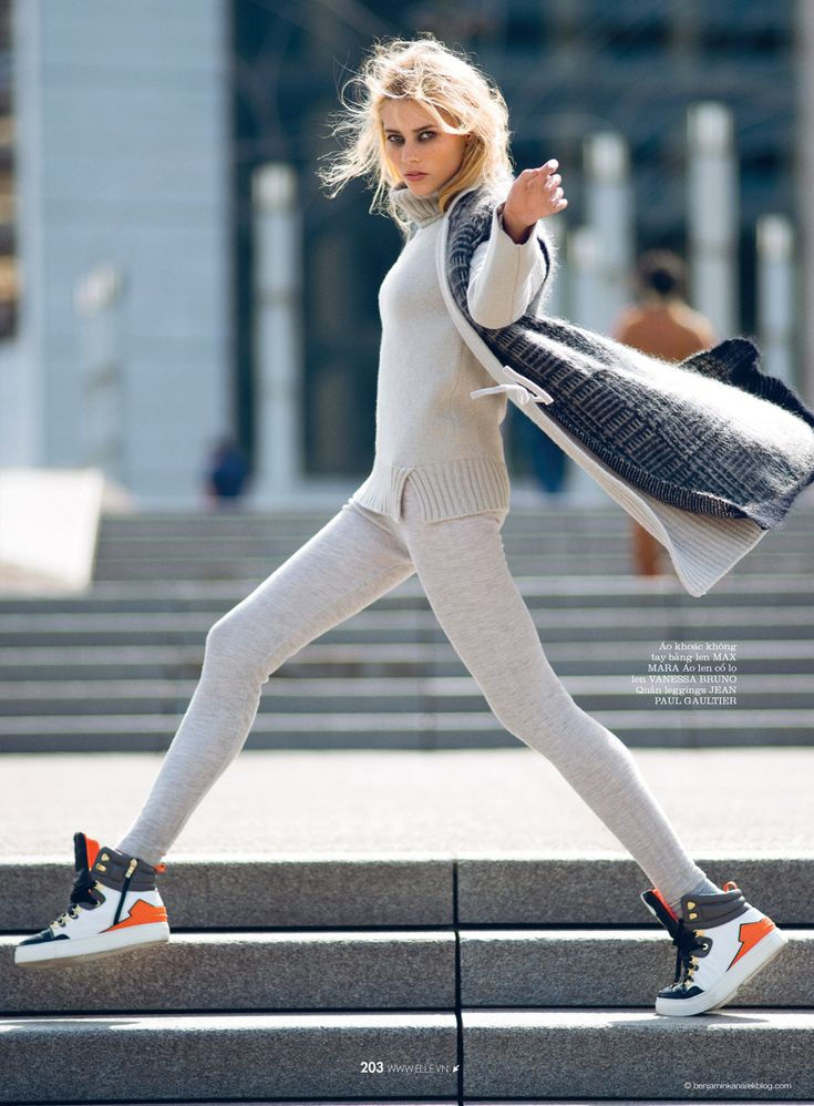 Vika Falileeva in Max Mara, Jean Paul Gautlier and Suecomma Bonnie sneakers  © Benjamin Kanarek