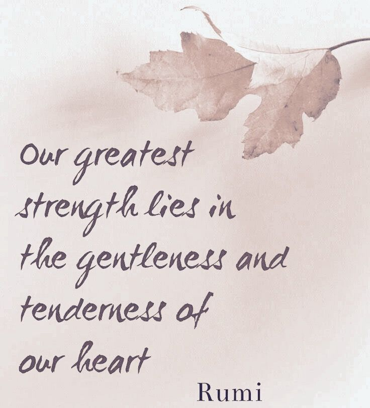 Our greatest strength lies in the gentleness and tenderness of our heart. - Rumi #heart #poem