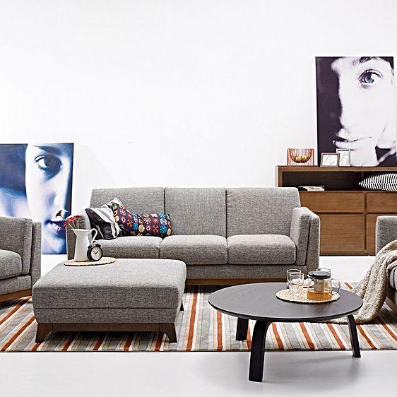 Ceni Coral Grey 3 Seater Sofa by Jason Agustina