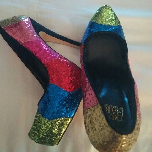 Stilleto Madonna truth or dare line Never worn outside. Size 6 1/2 but fit like a 6. No box. Multicolor. Blue, red ,gold, blue, lime green look at pics. Hate to part with these. i am a madonna collector. But they are too tight. madonna truth or dare Shoes Heels