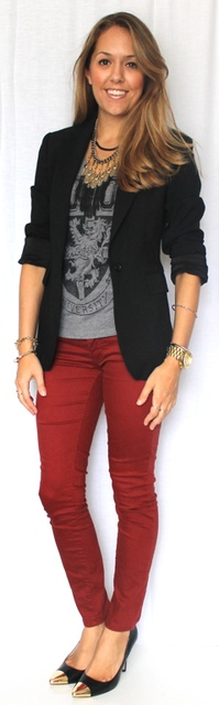 I like everything this girl puts together, with the exception of short shorts. I like this tuxedo blazer that dresses up this casual outfit. Love the red jeans and graphic tee.