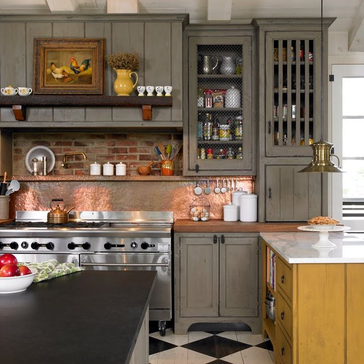 The Details In This Kitchen Are Wonderful But That Stove Is Over The Top Copper Backsplashkitchen