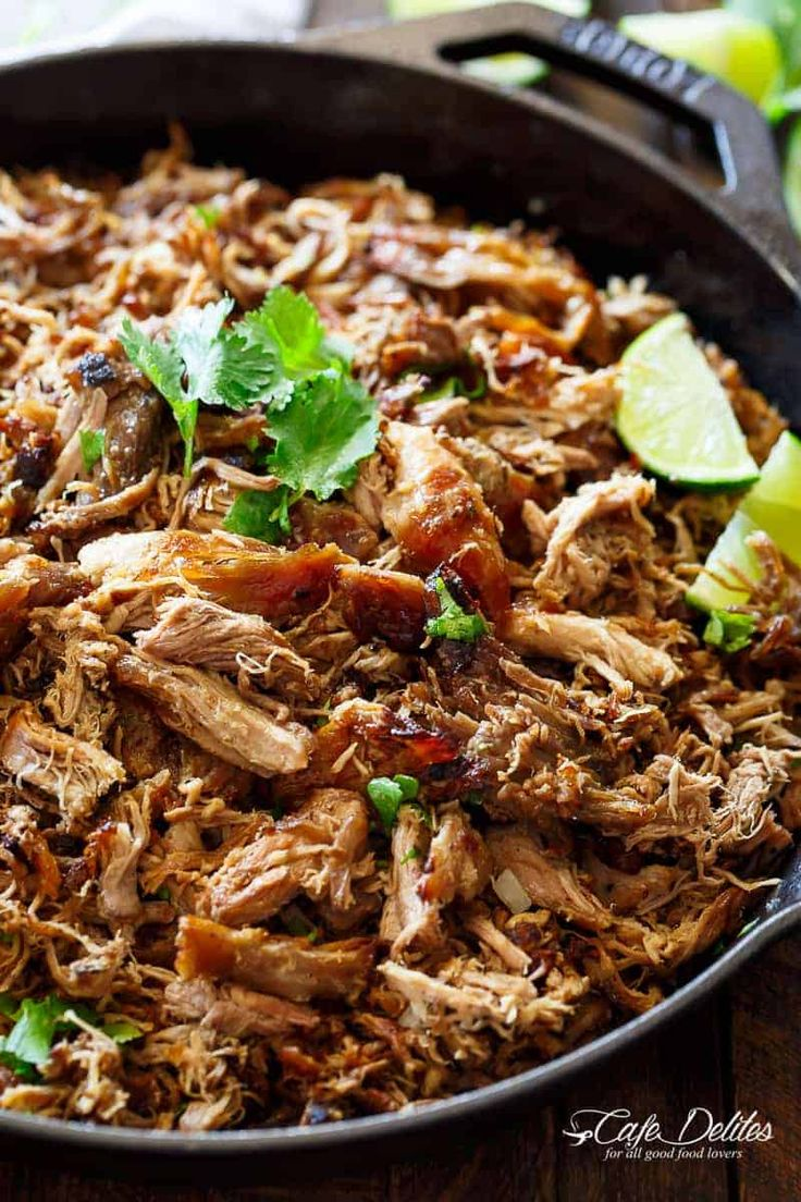Crispy Pork Carnitas (Mexican Slow Cooked Pulled Pork) is a winner! The closest recipe to authentic Mexican Carnitas (NO LARD), with a perfect crisp finish! | https://cafedelites.com