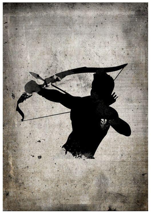 All Black Silhouette Superhero Hawkeye Poster Print