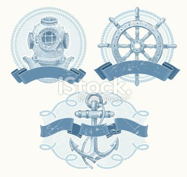 Nautical vector emblems with hand drawn elements Royalty Free Stock Vector Art Illustration