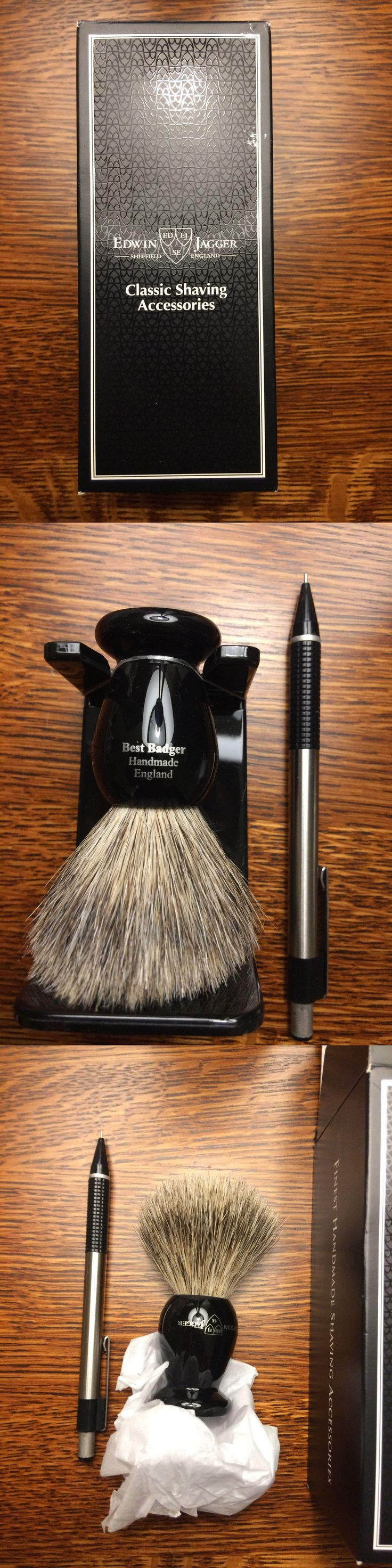 Shaving Brushes and Mugs: Brand New Edwin Jagger Imitation Ebony Best Badger Shaving Brush With Drip Stand -> BUY IT NOW ONLY: $31.29 on eBay!