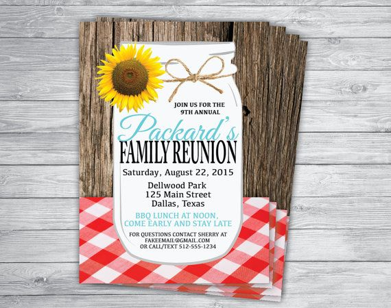 Any Event/Color FAMILY REUNION PICNIC Mason Jar Wood Gingham Rustic Cheap Burlap Vintage Unique Rehearsal Barbecue Brunch Invitation Printed