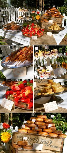 Breakfast/brunch party buffet, great to have while getting ready the morning of the wedding, would be good with a mimosa bar