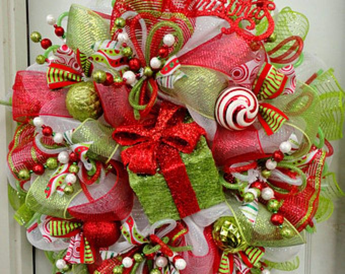 2017 Pre-Order! LIMItED Edition - RAZ Deco Mesh Christmas Wreath - Red and Lime Green - Raz Decorations