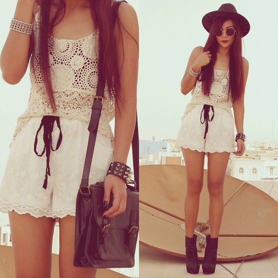 Forever 21 Boots, Splash Crochet Top, 2xtremz Lace Shorts, Romwe Spiike Bracelet, Splash Messenger Bag: Summer Fashion, Lace, Style, Dream Closet, Clothes, Cute Outfits, Dress, Google Search, Cute Summer Outfits