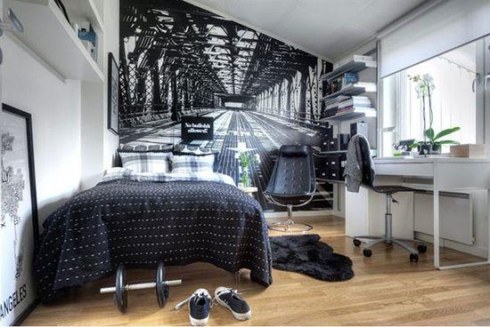 Oryginalny pomysł na pokój dla nastolatka zczarno-białą foptotapetą i nowoczesnymi meblami