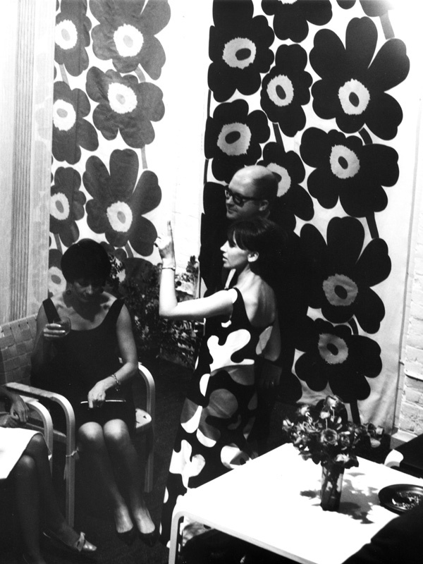 "Karelia (Front Street), opening party. Photo: Wollin Gustavs Kayari, c. 1960, from the ""Marimekko, With Love"" exhibit at the Textile Museum of Canada through April 21, 2013"