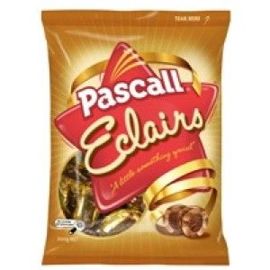A box of 12 bags of Pascall Chocolate Eclairs.  Delicious chewy caramels with a delectable chocolate centre that is simply irresistible. Take your time to eat it and really enjoy the flavour.