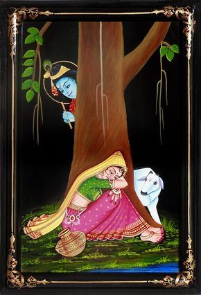 Krishna Peeping at Radha (Nirmal Paintings on Hardboard)