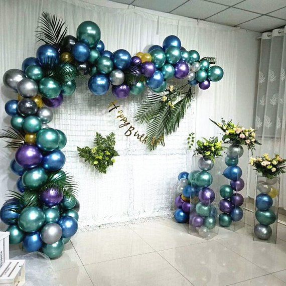 12 Metallic Chrome Latex Balloon Garland Balloon Chain