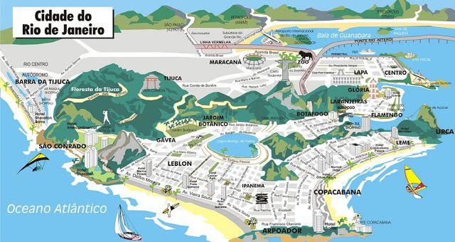Playas de Brasil: Mapa de Rio de Janeiro con sus principales playas y atracciones turísticas