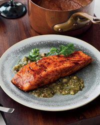 Chile-Honey-Glazed Salmon with Two Sauces // More Great Salmon Recipes: http://fandw.me/rWW #foodandwine