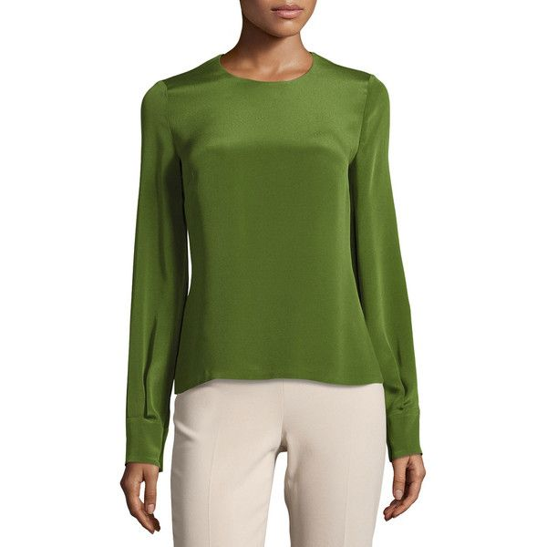 Cushnie Et Ochs Jewel-Neck Long-Sleeve Blouse ($795) ❤ liked on Polyvore featuring tops, blouses, green dark, women's apparel tops, long sleeve tops, green long sleeve top, green long sleeve blouse, green top and button blouse