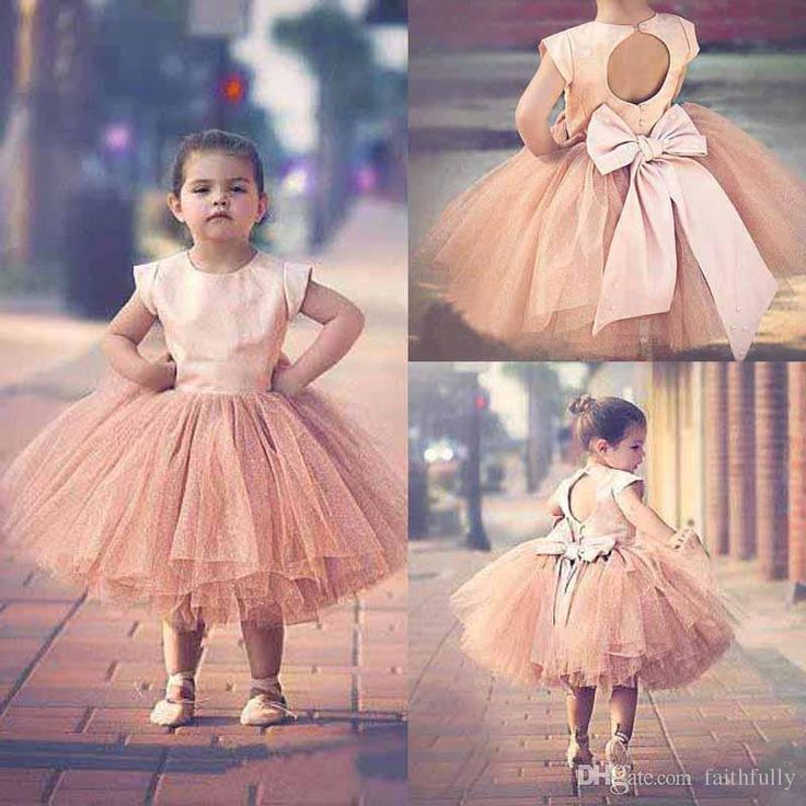 Pageant Dresses For Girls Sleeves 2016 Hot Blush Pink Stain Top Tulle Tutu Bow Back Tea Length Flower Girls Dresses For Weddings En41511 Brown Flower Girl Dress Burnt Orange Flower Girl Dresses From Faithfully, $66.34| Dhgate.Com