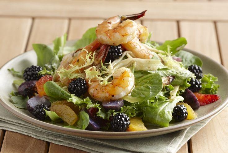 Cedar Grilled Prawns with Blackberry Citrus Salad Recipe