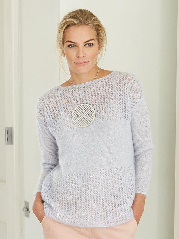 Стильный пуловер спицами с описанием