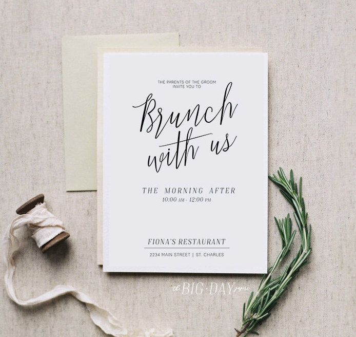 Brunch With Us • Printable Morning After Brunch Invitation • DIGITAL FILE • Bridal Brunch Wedding Printable Invitation by TheBigDayPapers on Etsy https://www.etsy.com/listing/490194593/brunch-with-us-printable-morning-after
