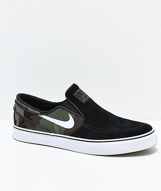 size 40 af1cb 9c155 Nike SB Janoski Black   Camo Slip-On Skate Shoes