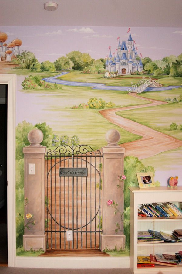Best 25 castle mural ideas on pinterest princess mural for Castle wall mural