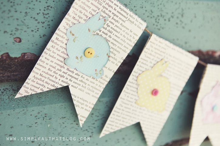 simple as that: Easter Book Page Bunting + Free Bunny Template
