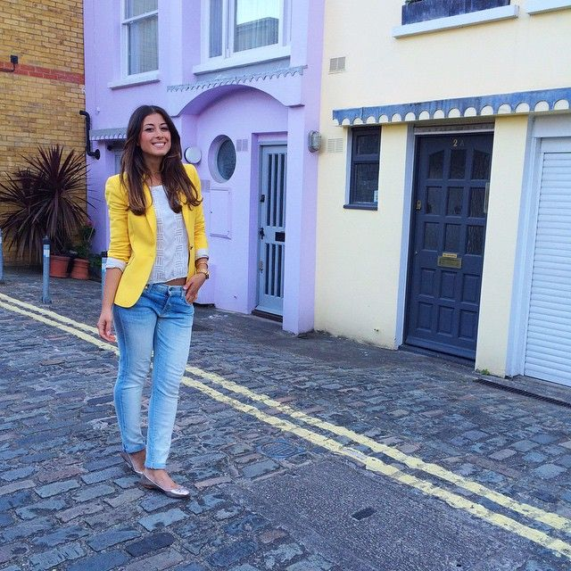 Mimi Ikonn | Yellow blazer white top jeans flats | Look of the Day | Pinterest | Flats White ...