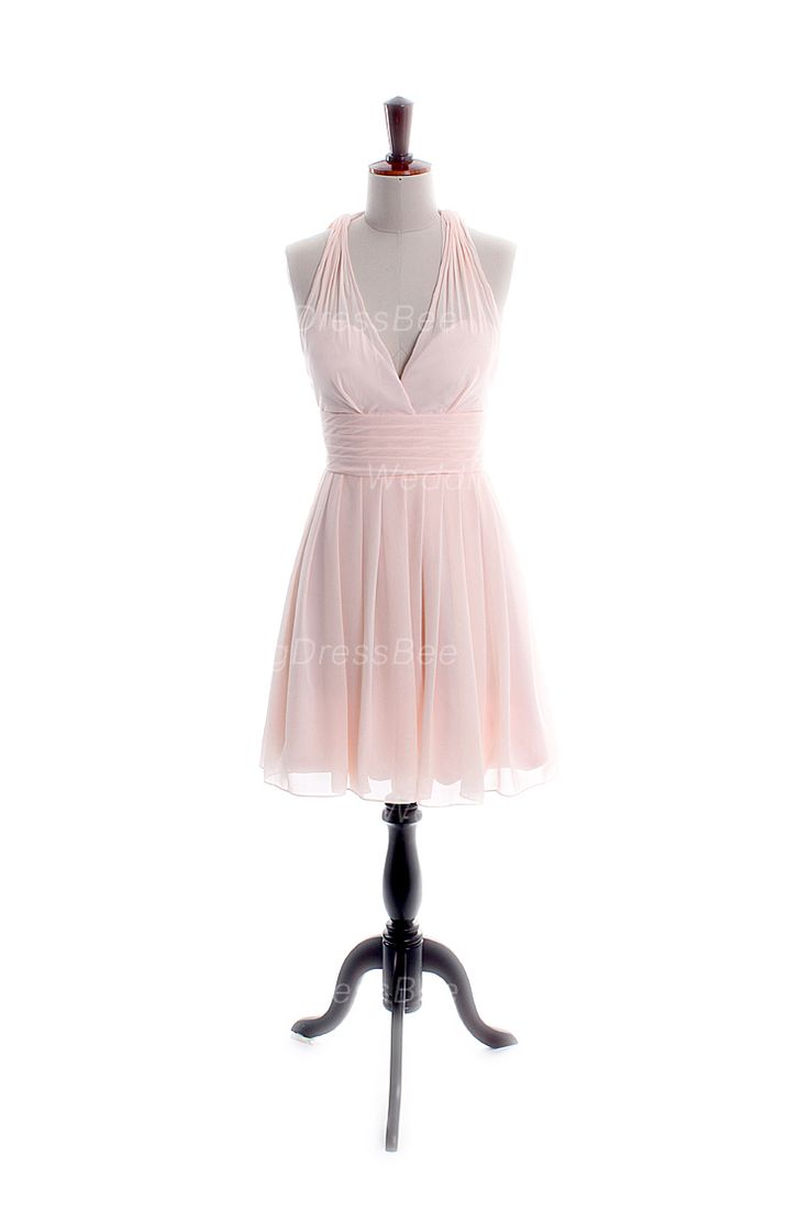 Halter neck with sexy back chiffon bridesmaid dress