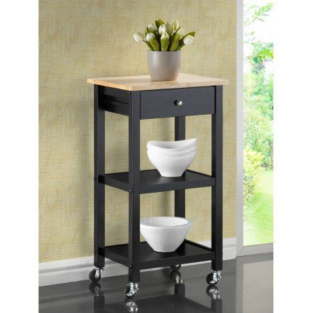 Roundhill Wood Kitchen Cart on Wheels, Multiple Colors Available, Black