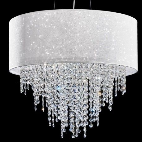 GLITTER di AnteLuce, Lampadario Design Moderno con Paralume e Cristalli a Cascata