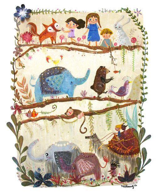 LARGE, Art for Children , Kids Wall Art, Baby Room Decor, Nursery print, Poster, 13 X 19 artprint , Illustration. $34.00, via Etsy.