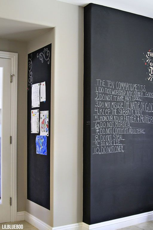 Kitchen Makeover / Renovation - Chalkboard Wall and Magnetic Wall by Ashley Hackshaw / Lil Blue Boo via lilblueboo.com