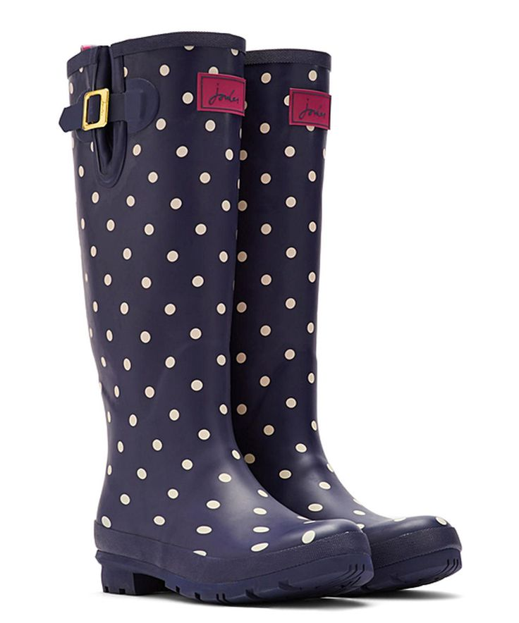 Take a look at this Navy & White Polka Dot Welly Rain Boot - Women today!