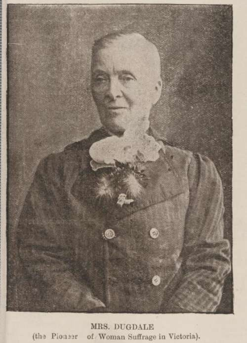 Henrietta Augusta Dugdale (1827-1918) was a radical, free-thinking feminist. In 1884 she took office as inaugural President of the Victorian Womenís Suffrage Society. An Australian pioneer for women's rights in the 1800's and early 1900's. After her second husband died she ripped off her corset, cut her hair really short and wore 'mens' clothes from then on.  State Library of New South Wales