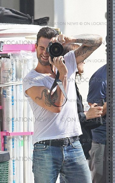 """Adam Levine on location for Maroon 5 music video """"Misery"""""""