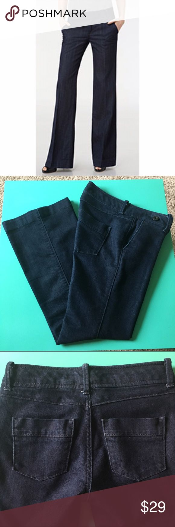 Banana Republic Trouser Jeans Dark Wash 24P/00P Banana Republic limited edition trouser jeans.  MSRP $98.  In excellent pre-owned condition.  Only been tried on and no flaws.  Size 24P / 00P.  Approximately 27 inch inseam.   72% cotton and 28% polyester.  Clean dark wash.  NO TRADES but I accept fair offers through the offer button. 10% bundle discount within my closet. Will be shipped out immediately after purchase from a smoke free environment. Banana Republic Jeans Flare & Wide Leg