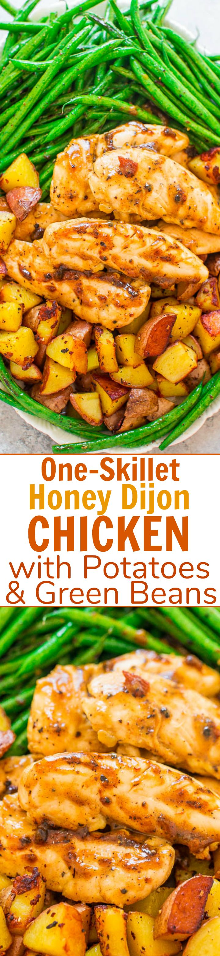 One-Skillet Honey Dijon Chicken with Potatoes and Green Beans - An EASY, one-skillet recipe that's ready in 20 minutes!! Juicy chicken, crispy potatoes, and crisp-tender green beans for the WIN! Great for busy weeknights or date-night-in!!